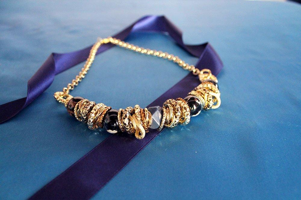 Collana con raku bicolore
